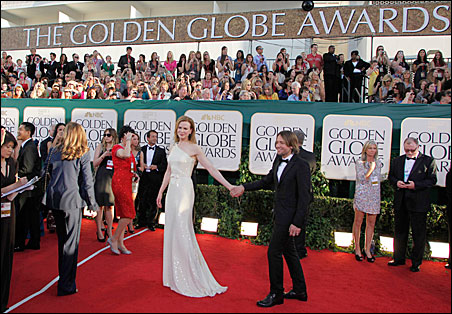 Actress Nicole Kidman and husband, country music star Keith Urban, on the red carpet at the 68th annual Golden Globe Awards.
