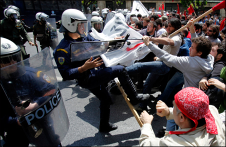 Protesters clash with police during a May Day rally outside the parliament in Athens. Unemployment is rising for the first time since 2004 in Greece.