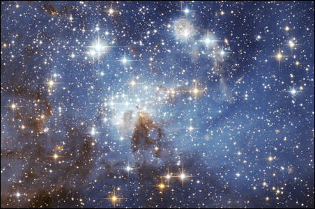 The star forming region LH 95 in the nearby Large Magellanic Cloud galaxy.