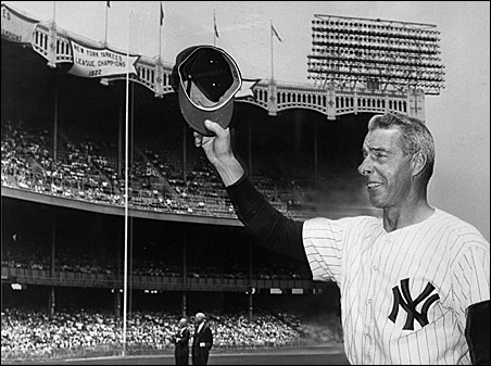 Yankee great Joe Dimaggio, once voted the greatest living player, returned to Yankee Stadium in 1963 for Old Timers Day.