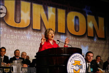 With Pennsylvania's primary looming, NAFTA-bashing is likely to continue. Sen. Hillary Rodham Clinton speaks to an AFL-CIO convention last week in Philadelphia.
