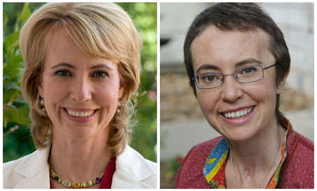 U.S. Rep. Gabrielle Giffords before and after her shooting incident.