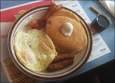 Today's big attraction: Denny's Grand Slam breakfast.
