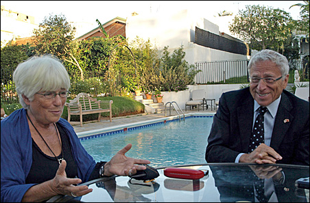 Sylvia and Sam Kaplan sat for an interview next to the pool at their residence in Rabat, Morocco.