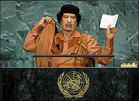 Libyan leader Moammar Gadhafi addresses the 64th United Nations General Assembly at the U.N. headquarters in New York, Sept. 23, 2009.