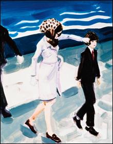 "Elizabeth Peyton, ""Jackie and John (Jackie fixing John's hair),"" 1999. Oil on board, 14"" x 11""."