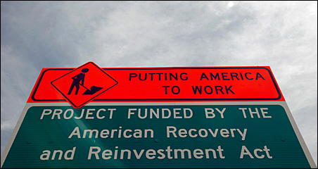 American Recovery and Reinvestment Act road work sign