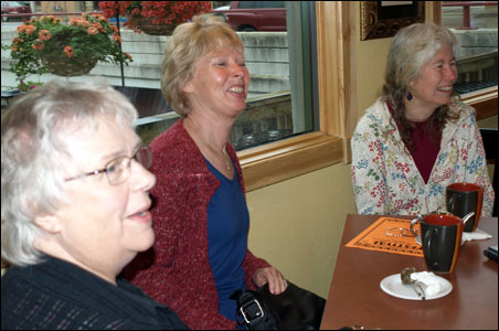 Dianne Kimm, Johanna Christianson and Joan Jarvis Ellison (l to r) meet for coffee.