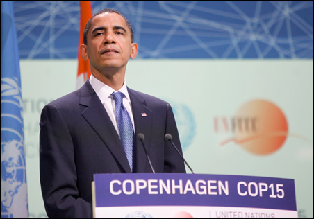 President Barack Obama addresses the session of United Nations Climate Change Conference 2009 in Copenhagen on Friday.