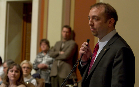 Rep. John Kriesel, R-Cottage Grove, speaking against the marriage amendment late Saturday night.