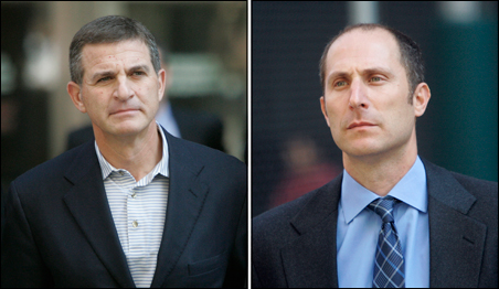 Former Bear Stearns hedge fund managers Ralph Cioffi, left, and Matthew Tannin, right, were arrested Thursday by federal agents and indicted on securities fraud charges.