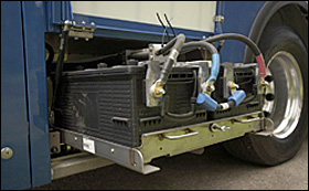 Pull-out battery tray designed for a New Flyer bus.