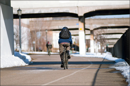 A cyclist on the Minneapolis Greenway