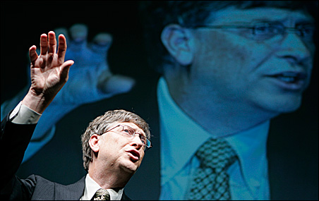 Bill Gates speaks at a news conference in Tokyo.