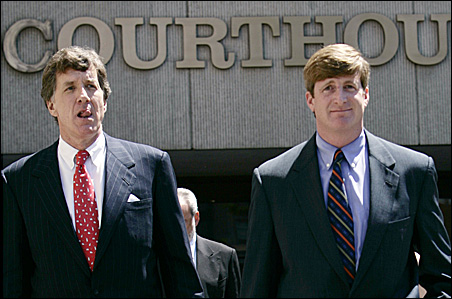 Rep. Jim Ramstad, left, and Rep. Patrick Kennedy leaving court in Washington, D.C., in 2006. Kennedy pleaded guilty to driving under the influence of prescription drugs when he crashed his car near the U.S. Capitol.