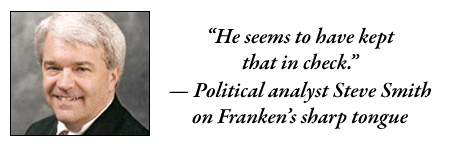 """Political analyst Steve Smith on Franken's sharp tongue: """"He seems to have kept that in check."""""""