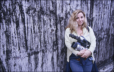 """Fearless"" filmmaker Melody Gilbert, toting the tool of her trade."