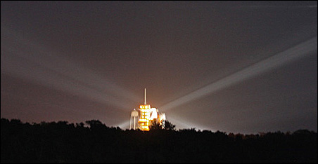 Atlantis on the launch pad at 5:30 Friday morning.