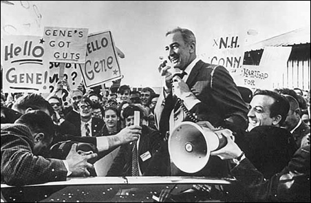 Eugene McCarthy campaigning in New Haven, Conn., in 1968.