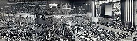 Sen. Hubert H. Humphrey making his acceptance speech at the convention.