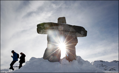 An Inukshuk statue in Whistler, British Colombia.
