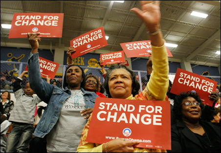 Supporters cheer Barack Obama during a campaign stop Thursday at Battery Creek High School in Beaufort, S.C.