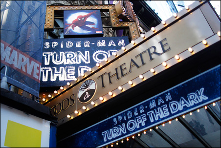 "The marquee for the Broadway show ""Spider-Man: Turn Off The Dark"" outside the Foxwoods Theatre in New York."
