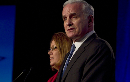 Legal scenarios abound for post-recount proceedings, should Mark Dayton (shown Election Night with running mate Yvonne Prettner Solon) face a court challenge if the Canvassing Board certifies him the winner.