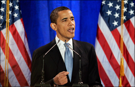 Sen. Barack Obama speaks at the National Constitution Center in Philadelphia.