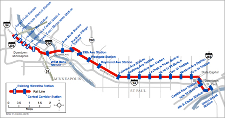 Current map of the Central Corridor Light Rail Transit route.