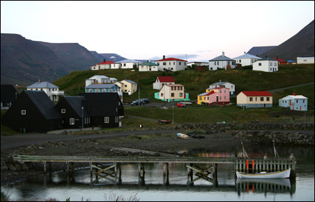 In the northwestern corner of Iceland, about 40 miles south of the Arctic Circle, Hofsos lies on the eastern shore of the Skagafjord.