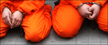 Protesters dressed as Guantanamo Bay prisoners in Istanbul last month.