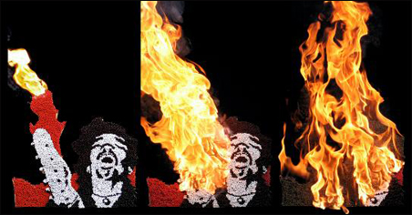 Hansen created this triptych of Jimi Hendrix with matches -- and then lit it on fire.