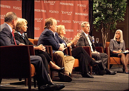 Panelists from left: Idaho Lt. Gov. Jim Risch, Ohio Rep. Deborah Pryce, consultant Mike Murphy, Michigan Rep. Candice Miller, California Rep. Kevin McCarthy and moderator Beth Frerking of Politico.