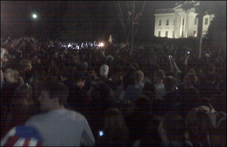 Photo by Charlie Rybak of the crowd outside the White House Sunday night.