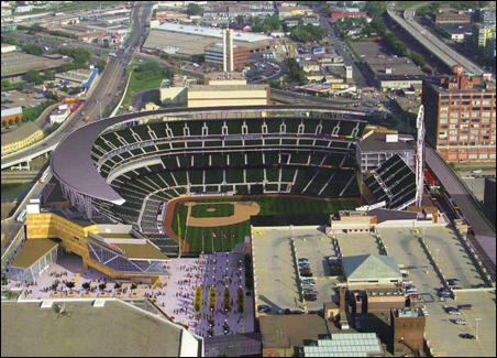 The Minnesota Twins use this postcard of the new stadium to woo potential ticket-holders.