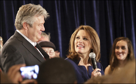 Rep. Michele Bachmann thanking her husband, Marcus, at her Iowa Caucus night rally.