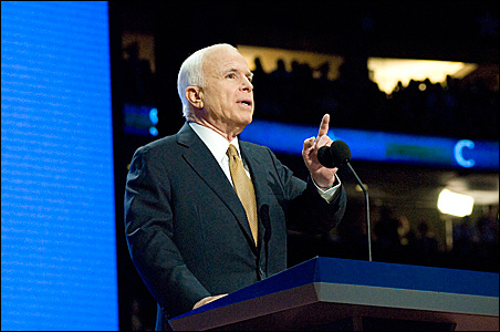 McCain making his own axis of evil list: Al Qaida, Iran and Russia.