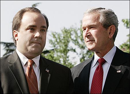 Scott McClellan with President Bush when McClellan announced his resignation as White House press secretary in April of 2006.