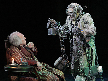 "Raye Birk as Ebenezer Scrooge and Nat Fuller as Jacob Marley in ""A Christmas Carol."""