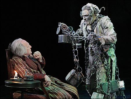 "Raye Birk as Ebenezer Scrooge and Nat Fuller as Jacob Marley in ""A Christmas Carol."""