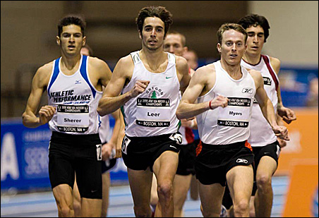 Will Leer, center, is primed for competition in the 1,500-meter event.