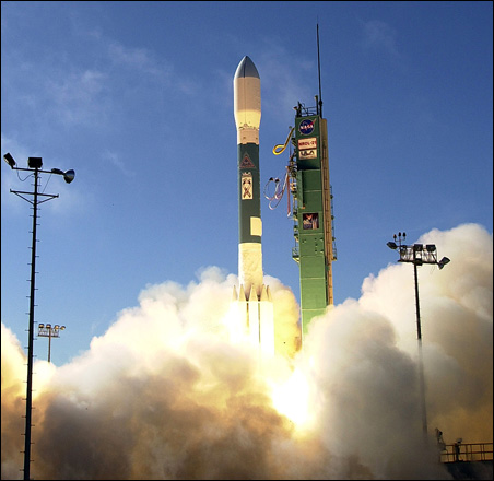 A Delta II rocket believed to be carrying the satellite in question launches Dec. 14, 2006, from Space Launch Complex-2 at Vandenberg Air Force Base, Calif.