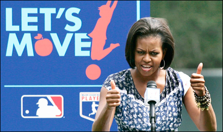 "Michelle Obama announces the ""Let's Move"" initiative in Baltimore, Maryland, on July 20."