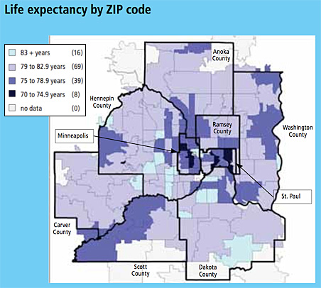 Life expectacy by ZIP code