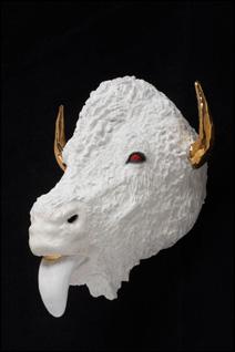 "Roxanne Jackson, ""White Diamond,"" ceramic, glaze, flock, platinum gold luster, 2009."
