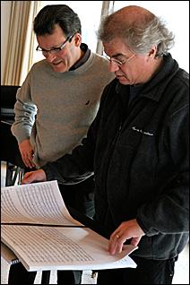 Composer Stephen Paulus, left, and Osmo Vanska of the Minnesota Orchestra.