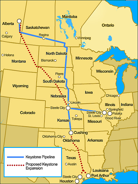 The proposed route of the 1,700-mile Keystone XL pipeline