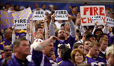 "Fans held up ""Fire Chilly"" signs during Sunday's game against the Arizona Cardinals."