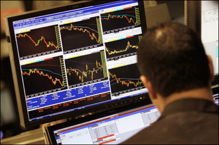 A trader's screen on the floor of the New York Stock Exchange: A sign of the times.